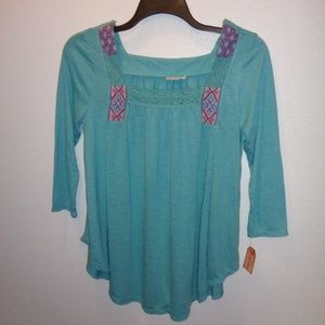NWT Juniors Mudd 3/4 sleeve Peasant Top Size L